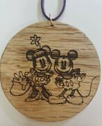 Laser Burnt Onto Solid Oak 3 Diameter - Mickey Mouse Minnie Mouse Goofy Donald