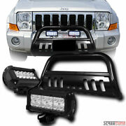 Blk Bull Bar Grille Guard W/36w Cree Led Lights For 05+ Grand Cherokee/commander
