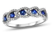 1.61ct Natural Diamond 14k Solid White Gold Blue Sapphire Band Ring Size 7 To 9