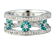 1.08ct Natural Diamond 14k Solid White Gold Emerald Cluster Ring Size 7 To 9