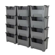 Plastic Stacking Bins Order Picking Boxes Open Front Garage And Industrial Storage