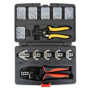 Interchangeable Ratcheting Terminal Crimper Set - 12 Die Sets With Wire Stripper
