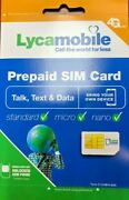 Lycamobile Triple Cut Preloaded Sim Card 23/29/35/39 With 1-3 Month Service