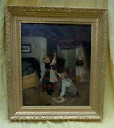 Antique Oil Painting Of Children Playing With Marionette Doll In The Old Masters