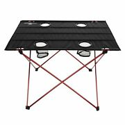 Camping Table Folding Portable Carry Bag 4 Cup Holders Outdoor Hiking Fishing