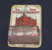 Vintage Tin Litho Match Holder Advertising Dr Kings New Discovery Quack Medicine