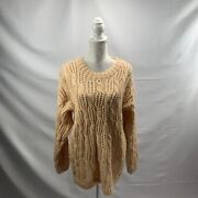 Super Chunky Loose Knit Light Peach Sweater Oversize Vintage Croquet Club Small