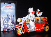Coca-cola Motorcycle With Polar Bear Tin Wind Up Toy Motortrikewith Coa In Box