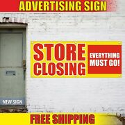 Store Closing Banner Advertising Vinyl Sign Flag Sale Everything Must Go Off All