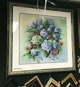 Original Painting,blue And White Hydrangeas By Jean Mclean Of Maine, Acrylic