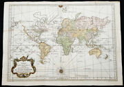 1748 1770 N B Bellin Large Antique World Map With Updates By Capt. Cook
