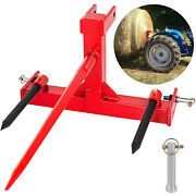 Category 1 Tractor 3 Point Attachment W/43 Hay Bale Spear And 2 17 Stabilizers