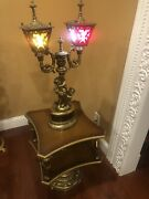 Stunning Vintage Brass Cherub And Angels Lamp With Glass Panels
