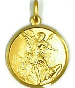 Solid 18k Yellow Gold Saint Michael Archangel 25 Mm Medal Pendant Made In Italy