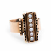 Antique Victorian Seed Pearl Enamel Ring Vintage 14k Rose Gold Estate Jewelry