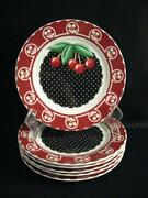 At Home With Mary Engelbreit Cherry Salad Plates - Six