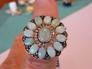 Vintage 14k Gold .54 Ct Diamond And Opal Ring 25 X 25 Mm Sz 7 Lots Fire