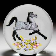 """Jim D'onofrio 2007 """"equine Bouquet"""" Arabian Horse And Flowers Glass Paperweight"""