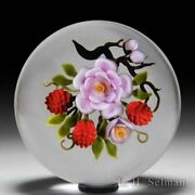 Victor Trabucco 1989 Satin Pink Rose And Red Raspberries Magnum Paperweight