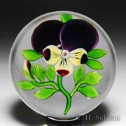 Antique Baccarat Type Iii Pansy And A Bud Glass Paperweight