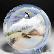 """Rick Ayotte 2012 """"above The Clouds"""" Glasscape Faceted Compound Glass Paperweight"""