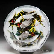 Rick Ayotte 1990 Two Titmice And Holly On Snowy Ground Faceted Glass Paperweight