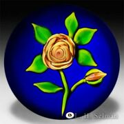 Ray Banford Golden Rose On Cobalt Ground Glass Paperweight