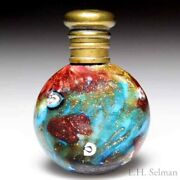 Antique Venetian Round Glass Scent Bottle With Brass Stopper