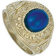 Heavy Gold College Ring Graduation University Menand039s Blue Stone Solid 9 Carat