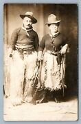 Cowboy And Cowgirl W/ Rifle Pistols Lasso 1911 Antique Real Photo Postcard Rppc