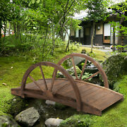 3.3ft Wooden Garden Bridge Arc Stained Finish Walkway With Half Wheeled Railings