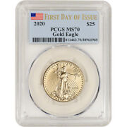 2020 American Gold Eagle 1/2 Oz 25 - Pcgs Ms70 First Day Of Issue