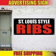 Ribs Banner Advertising Vinyl Sign Flag Bbq Food Chicken Meat St. Louis Style 24