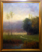 John Young Enchanted Pathway Hand Signed Original Oil With Custom Frame Tree