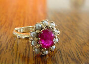 Antique Victorian Unheated Ruby And Natural Pearl Ring
