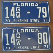 Florida 1970-1971 Marion County Consecutive Number Truck License Plates