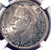 France 1866 Silver 2 Francs Napoleon Iii Finest Graded At Ngc Ms66