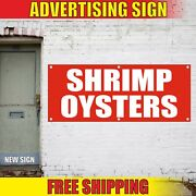 Shrimp Oysters Banner Advertising Vinyl Sign Flag Seafood Bbq Grill Food Fair