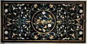 4and039x2and039 Black Marble Dining Table Top Multi Stone Marquetry Inlay Decors Gift B054