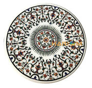 36and039and039 Dining Table Top White Marble Pietradura Living Room Inlay Arts Decor W120