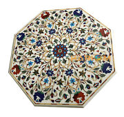 36'' White Marble Dining Collectible Octagon Top Table Inlay Garden Decor W121
