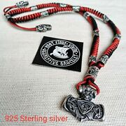 Mens Necklace 925 Sterling Silver. Paracord Necklace With Beads. Mjolnir.
