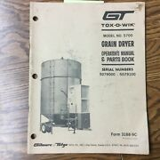 Gt 5700 Grain Dryer Operation Maintenance Manual Parts Book Guide Tox-o-wik 3188