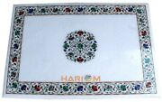3'x2' White Marble Dining Table Floral Art Semi Top Inlay Collectible Decor W234