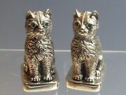 Pair Heavy Solid Silver Seated Cat Salt And Pepper Pots
