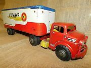 Vintage 1950and039s Marx Toys Tin Litho Lumar Van Lines Truck And Trailer Excellent