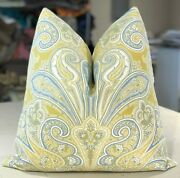 Pair Scalamandre Yellow French Blue And Off White Kellie Paisley Custom Pillows