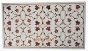 4and039x2and039 Rectangle Marble Dining Table Carnelian Floral Top Inlay Garden Decor W249
