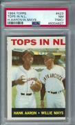 1964 Topps 423 Tops In National League Hank Aaron / Willie Mays Nm Psa 7 Oc