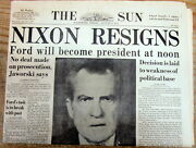 1974 Headline Baltimore Md Newspaper Nixon Resigns And Ford Sworn In As President